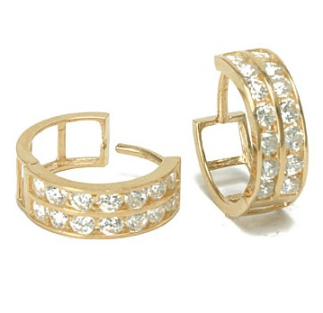 14K Gold Two Row Cubic Zirconia CZ Huggie Earrings,14k gold jewelry