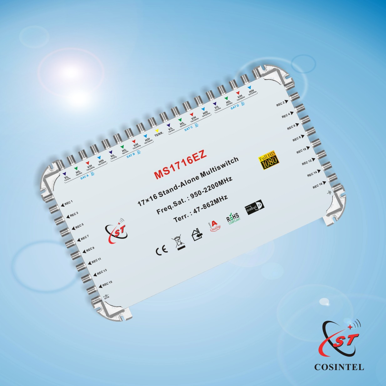 17 in 16 out Stand-alone Satellite Multiswitch with Zinc Die-casting Housing