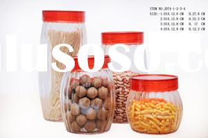 clear glass canister set with color plastic lids for storage food