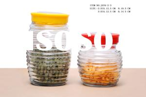 813 clear glass storage jar canister with colorful lids