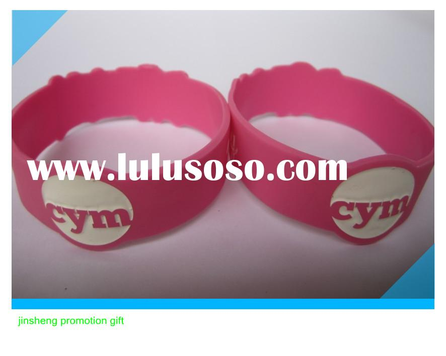 hotsale silicone bracelet with debossed colors ink filled