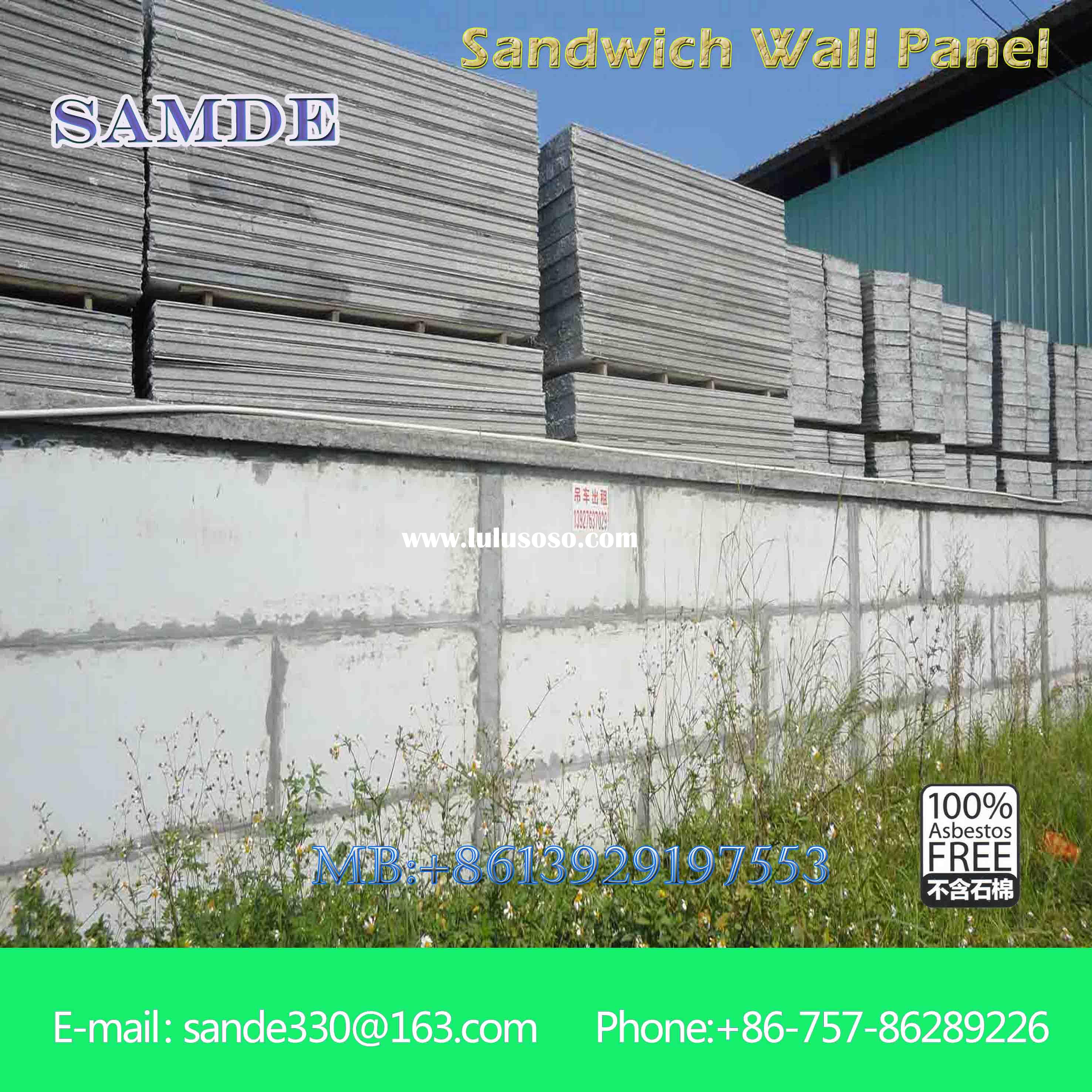 Building construction materials list sandwich wall panel with heat insulation