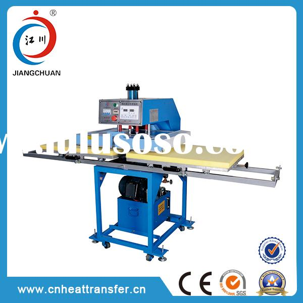 Machine manufacturer automatic two station heat sublimation transfer printing on cotton fabric