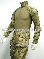 Combat Shirt & Pants Multi Camo wElbow Knee Pads