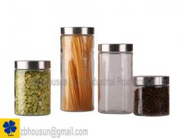 High Quality Screw Top Glass Storage Jar With Stainless Steel Lid