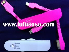 3 in 1 Charge Cable (Saber cable) iphone5,iphone4,micro usb cable