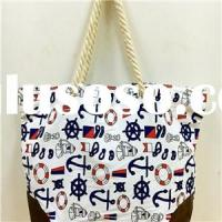 COTTON ROPE HANDLE CANVAS BEACH BAG JH15002