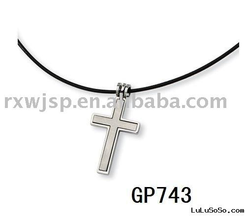 2 Piece Leather Cord Cross Necklace Stainless Steel pendant