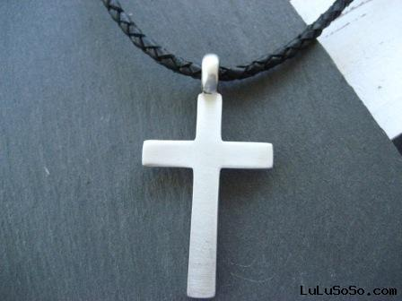 Men's Black Leather Necklace with Cross pendant
