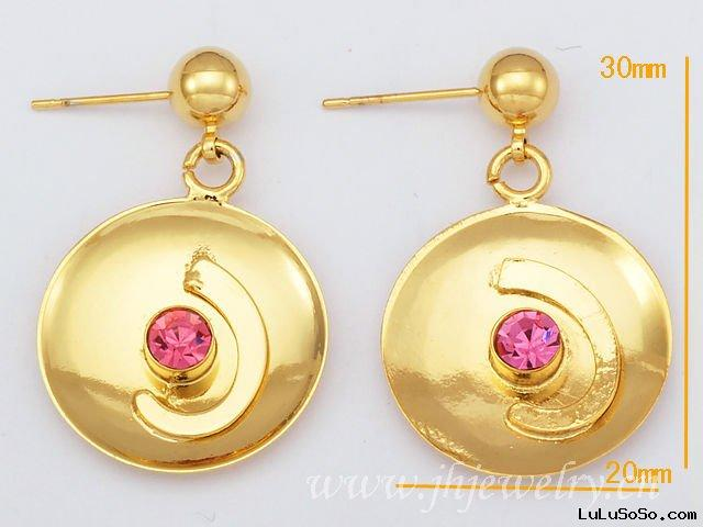 Pink Circle Gemstone Fashion Earring Imitation Jewelry Wholesale 20012303