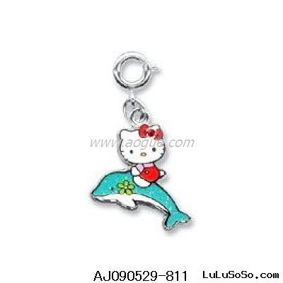 Sanrio Hello Kitty Dolphin Rider Glitter Enamel Charm for Bracelet, Necklace or Cell Phone
