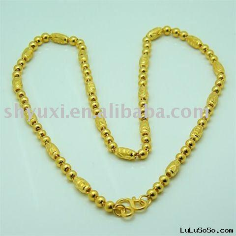 "Solid 24K Yellow Gold Luck Beads Necklace Chain 18""inch"