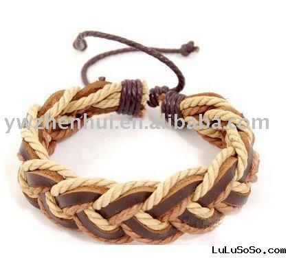 Tibet Hemp Leather Tribal Wrist Cuff Bracelet|leather braided bracelet charm