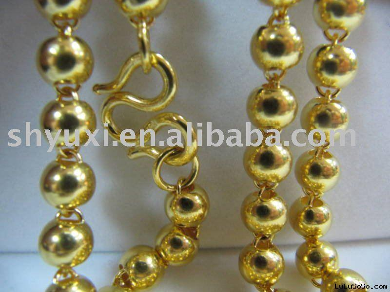 Wholesale 20g Solid 24K Yellow gold 24K Yellow gold beads Necklace/ gold necklace
