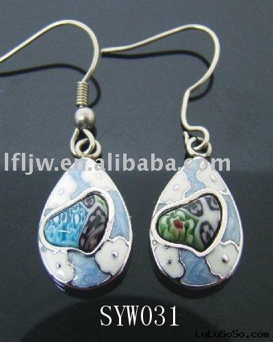 Wholesale fashion earrings,stainless steel earrings with color glass