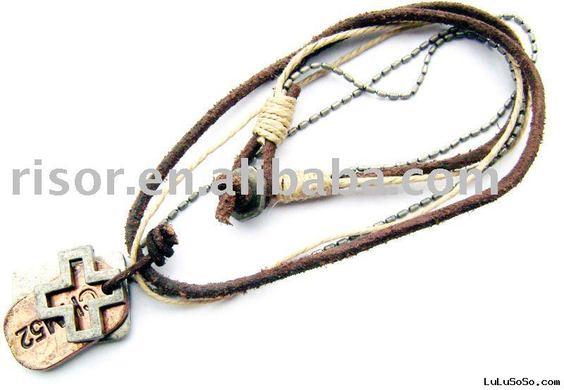 adjustable alloy leather necklace