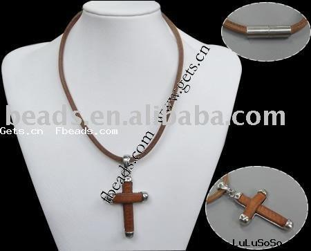 cross pendant leather necklace