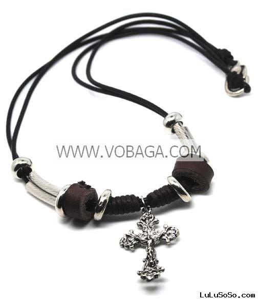 fashion cross pendant necklace leather cross bracelet hot selling