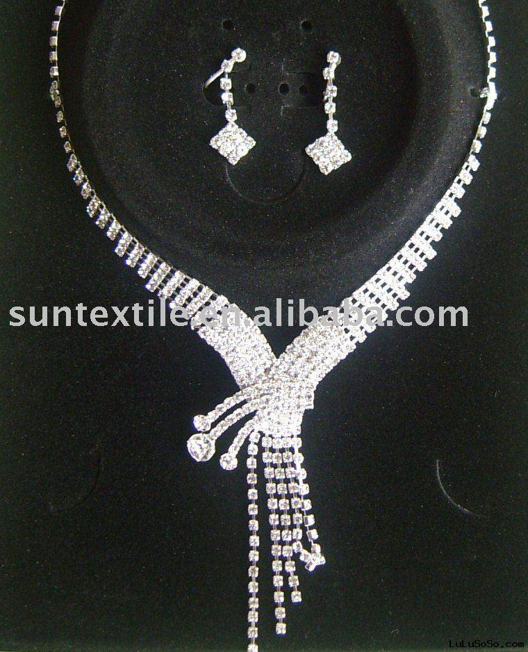 fashion shinning  rhinestone bridal jewelry necklace set wholesale