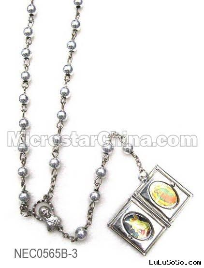 silver-plated rosary necklace