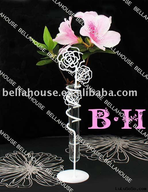 BH900739 Glass flower holder with metal stand, plant holder