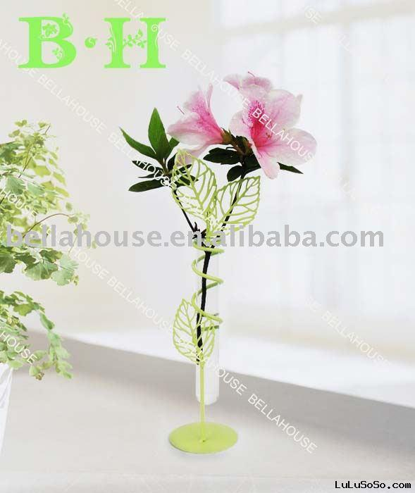 BH900740 glass flower holder with metal stand for home decoration