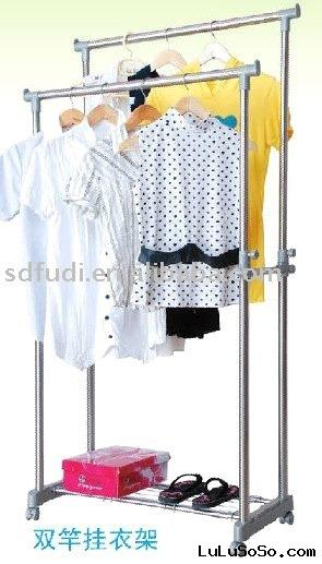 Double-pole clothes hanger and rack/clothes rack/double-bar clothes rack/cloth rack