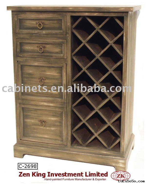 Hand Painted Country Style Wooden Wine Rack Cabinet