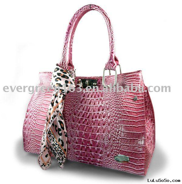 Lady faux Leather handbag In Hot Pink,Croc faux leather handbag  (710)