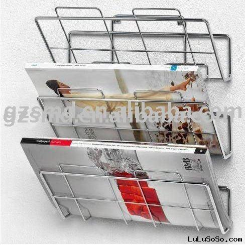 Three-Tier Wall Mount Chrome Wire Magazine Rack