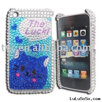 Twinkling Swarovski Lucky Cat Style Case Cover for iPhone 3G & 3GS