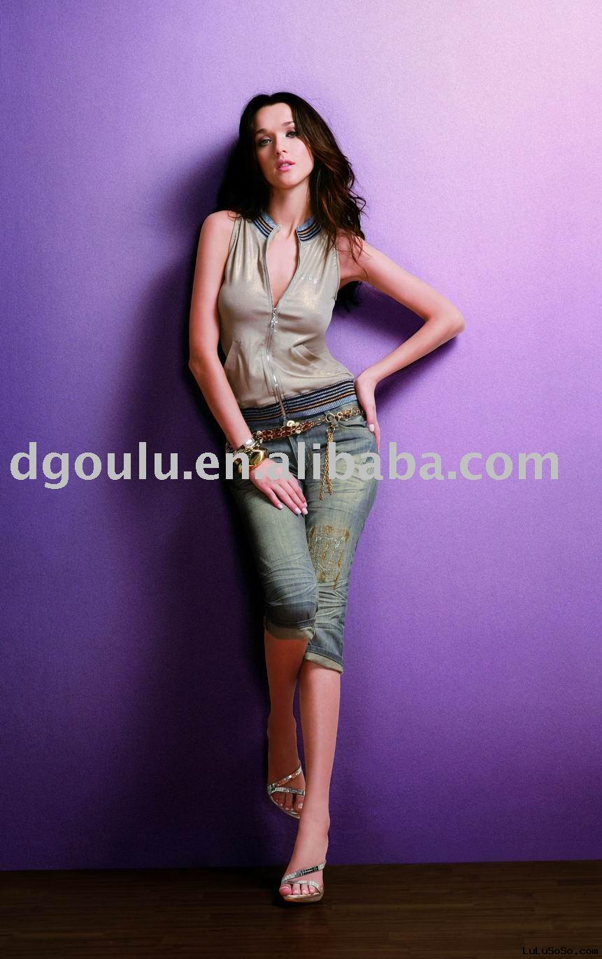 Fashion ladies' Jeans, women clothing, 2009 new jeans made in China