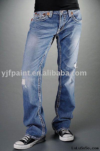 men's washed denim fashion jeans