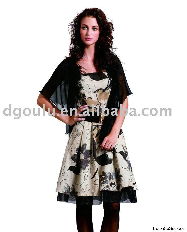 2009 NEW  black Beautiful  fashion dress(lady clothing, evening dress)