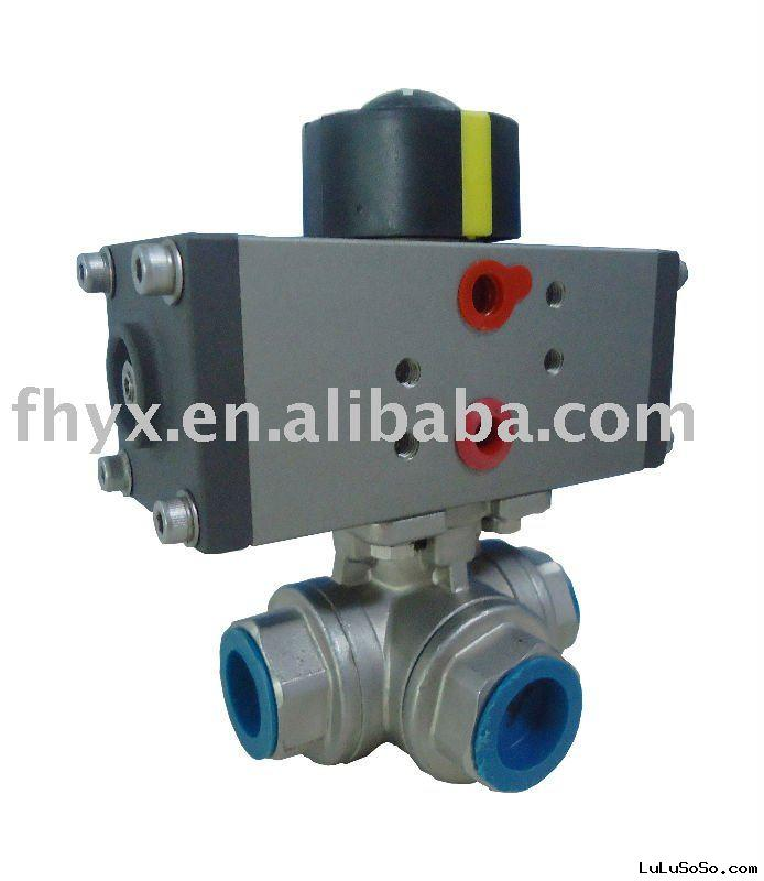 AC Pneumatic Valve Actuator With 3 Way Ball Valve 20A