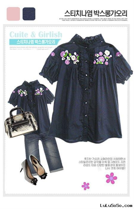 Cute Plus Size Clothing Plus Size Suits Junior Plus Size Korean Round Collar Embroider Shirt