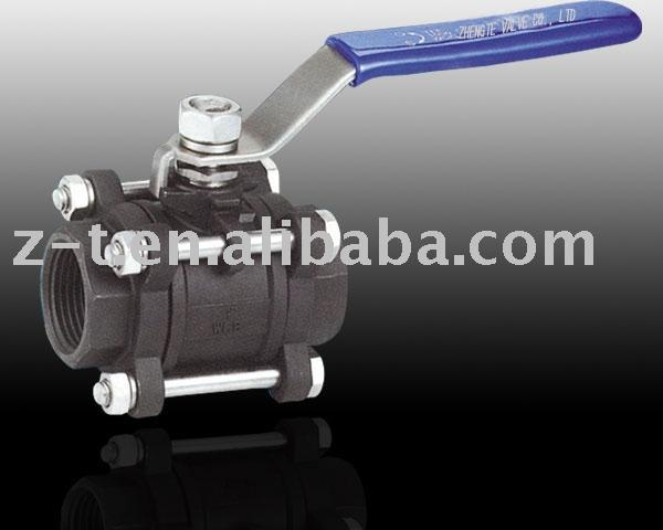 Three Piece carbon steel Ball Valve, screwed end, female threaded end, with locking device