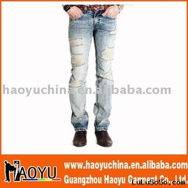 hot sell slim brand men denim jeans wear (HY1207)