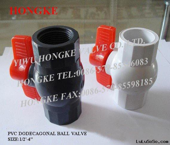 red handle octagonal pvc ball valve