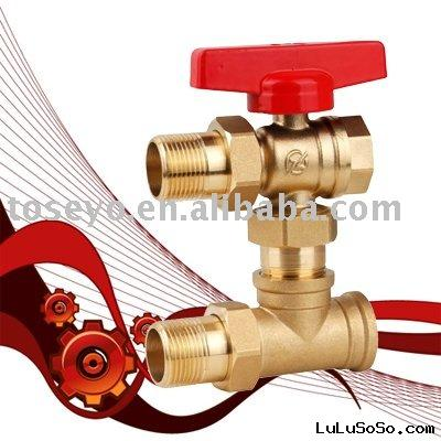three way regulating brass ball valve(for heated air use)