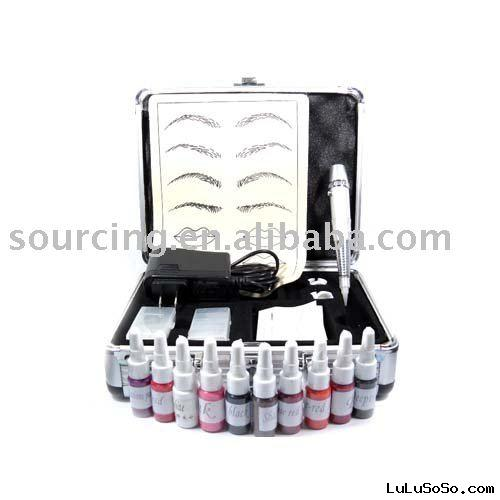 Permanent Makeup Kit Silver Pen Ink Case for Tattoo Eyebrow PM-58