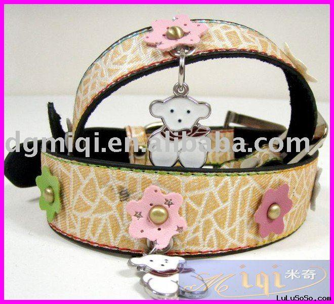 Hot-sale leather dog collars and leashes