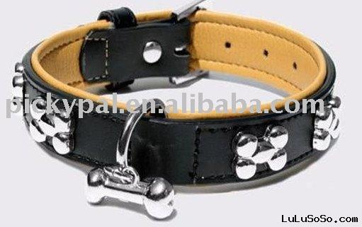Leather and PU dog collar and leash with rhinestone and bonedesign_pet collar