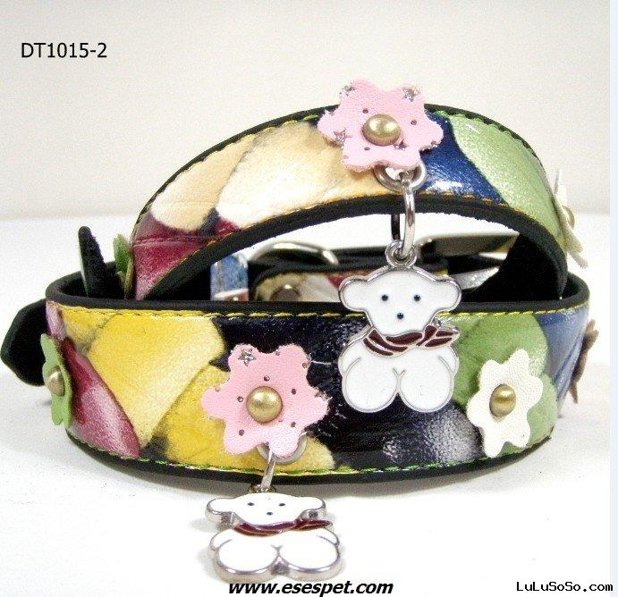 leather dog collar, dog leash, pet collar wholesale 1pc