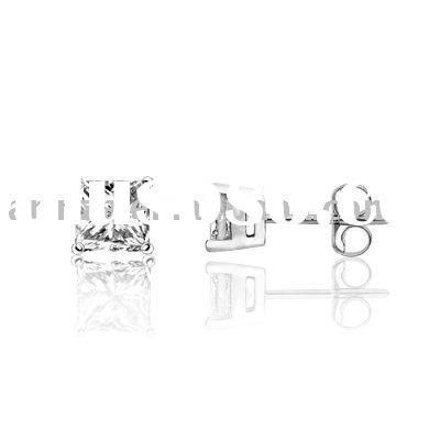 0.5 Carat Princess Cut Diamond Stud Earrings 18K White Gold