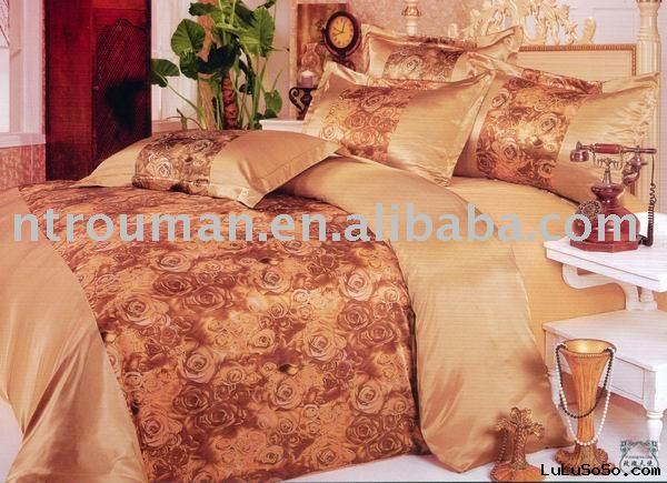 faux silk bedding sets, bed sheets, printed bedding sets, jacquard bedding sets