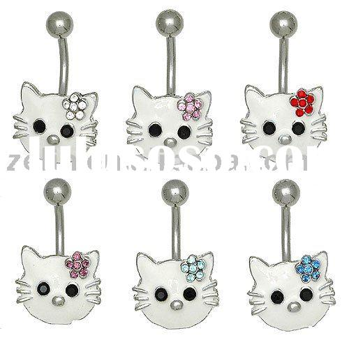 Fashion Thailand  Hello Kitty Belly Dangle Button Ring body piercing jewelry