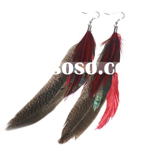 Long Feather Earrings Gray