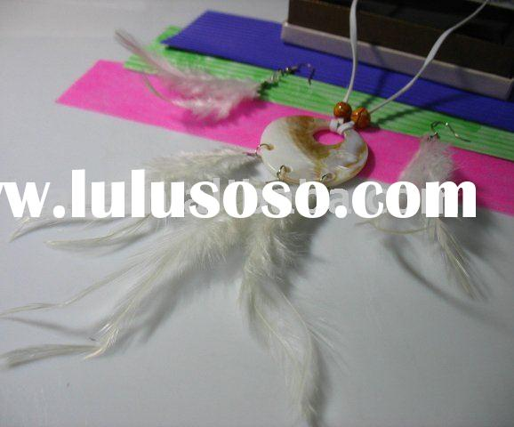 Long feather earrings set