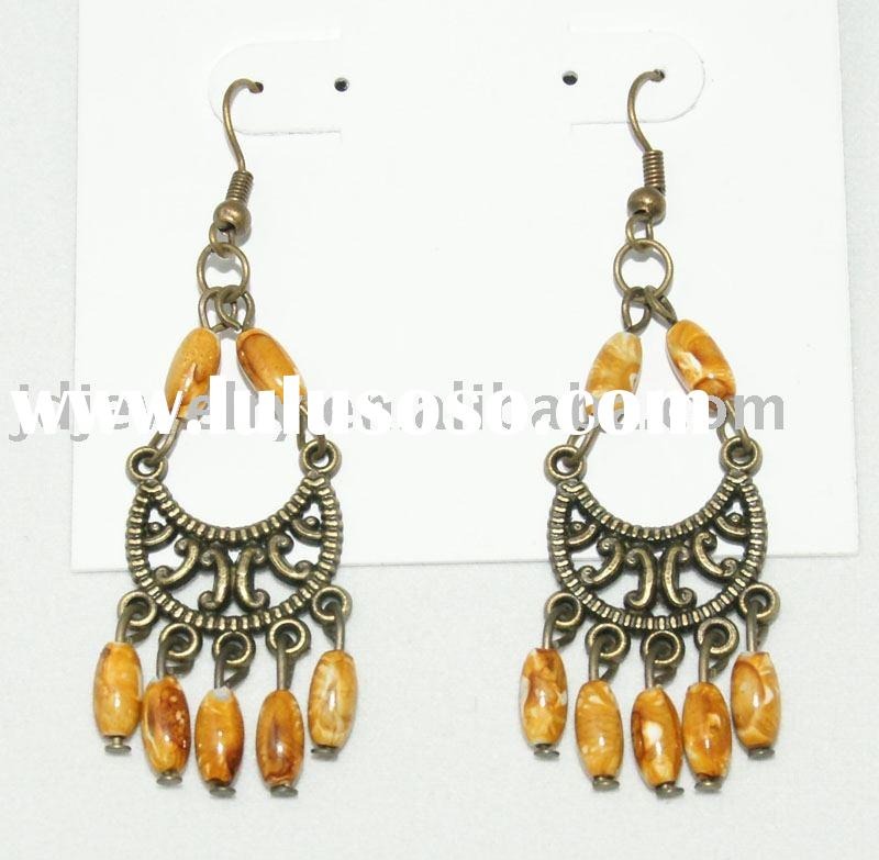 EJER22814 - Elegant 14K yellow gold chandelier earrings
